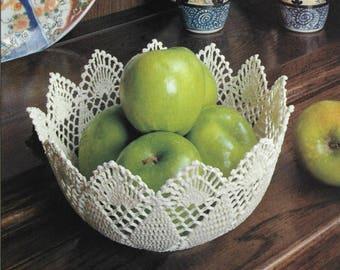 Crochet Pattern For Sculptured Crochet Bowl - PDF Instant Download Pattern - Crochet A Lace Bowl Or Basket, Doily Bowl - Beautiful!