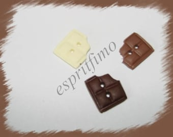 """Set of 3 """"piece of chocolate chewed trio"""" buttons Fimo"""