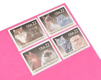 Pack of 24 Unused Cat Stamps - 22c - Vintage Unused Postage from 1988 - Quantity of 24