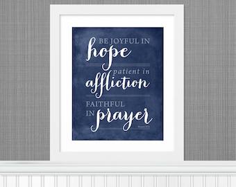 "Bible Verse ""Be Joyful in Hope"" Nursery Art -  8x10 - Navy - DIY Printable - INSTANT DOWNLOAD"