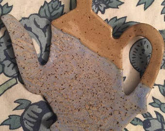 Homemade Ceramic Lace Jewelry Dish, Spoon Rest or Teabag Holder