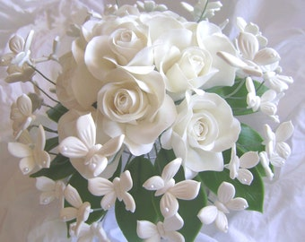 Wedding Bouquet Clay White Rose White Butterflies Handmade Clay Bridal Bouquet