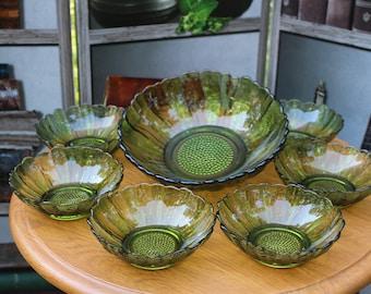 Vintage Green Sunflower Salad Bowls