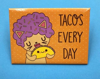 Afro Cat Tacos Everyday Cute Magnet
