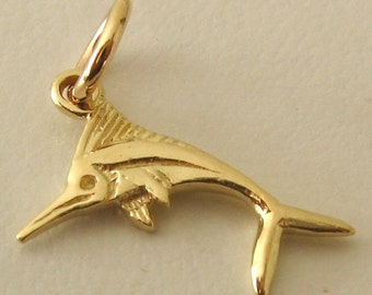 Genuine SOLID 9K 9ct YELLOW GOLD Swordfish Sea Animal Marlin charm/pendant