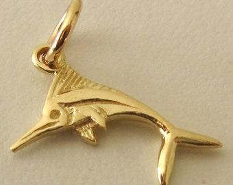 Genuine SOLID 9K 9ct YELLOW GOLD Swordfish Sea Animal Marlin charm/pendant