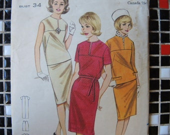 vintage 1960s Butterick sewing pattern 3208 misses one or two piece dress size 14
