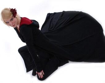 Floor Length Kankova Coat ~ Black and Red Fleece Coat ~ Samhain~ Festival Wear ~ Winter Coat ~ Faery ~ Gothic ~ Goddess ~ technodolly