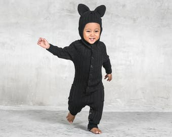 Panther Toddler Costume for Baby and Toddler - Handmade Knit Animal Romper - Blamo Black Cat Costume - Unique Jumper - Animal PJ's