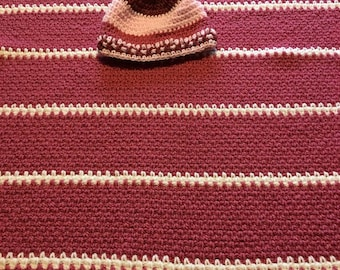 Baby afghan with matching hat