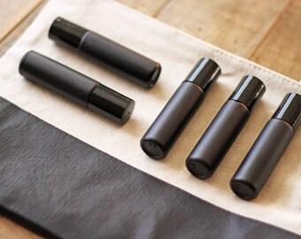 10mL Matte Black Roller Bottles: Set of Five (steel roller balls included)
