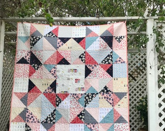 Handmade Patchwork Quilt - Modern Lap Quilt - Sofa Throw Quilt - Modern Folk Quilt - Charleston
