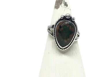 Green Turquoise Ring, Southwestern Style Ring, Silver Ring Size 5 1/2, New Mexico Cerillos Turquoise Jewelry, Silver Jewelry, Pinky Ring