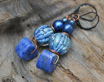 Amazing Lampwork, Lapis and Freshwater Pearl  Earrings