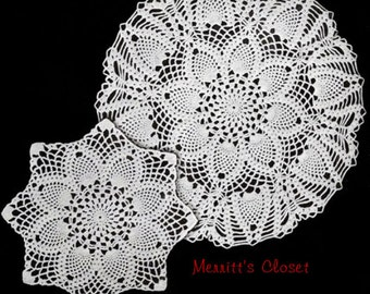 "2 Pineapple Doilies, Large and Small, 15"" and 12"",   Vintage Crochet Pattern, INSTANT DOWNLOAD PDF"