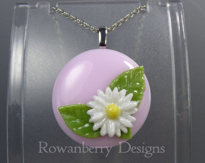 Featured listing image: VINTAGE DAISY - Handmade Fused Glass & Stainless Steel Pendant Necklace - Rowanberry SRA  - art - DSFP1