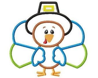 Turkey Boy Machine Embroidery Applique Design