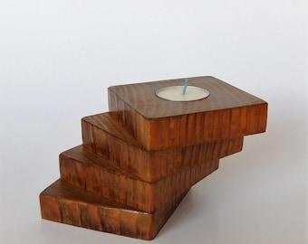 Wooden Tea Light Candle Holder, Spiral Cedar Wood Candle Holder