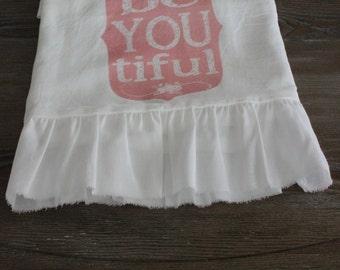 Shabby Chic, Cottage, Farmhouse, Flour Sack, Tea Towel (TIFUL) RUFFLED