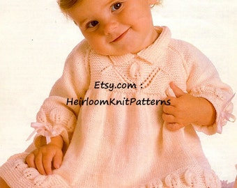 Baby Girls Dress Vintage Knitting Pattern Flower and Leaf Motifs Knitted Dress 4Ply Knitting Pattern 16-22'' Instant Download PDF - 626