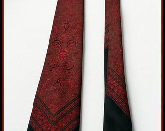 Savile Vintage ties Black Red  Tie Vintage Necktie Men's Accessories