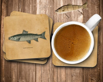 Brown Trout, Trout Coasters, Brown Coasters, Drink Coasters, Trout Brown, Brown Drink, Brown Drink Coasters, Coasters Brown, Fishing Coaster