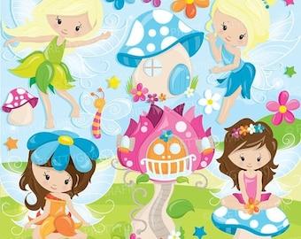 80% OFF SALE fairy clipart commercial use, fairies vector graphics, fairytale digital clip art, digital images  - CL943