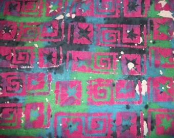 Tye Dyed Fabric with Batik Swirls and Stars - One Yard