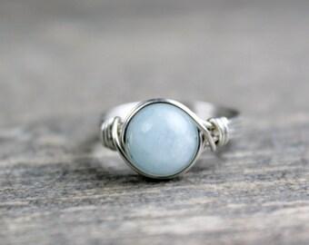 Aquamarine Ring, Aquamarine Stone, March Birthstone, Birthstone Ring, March Birthday