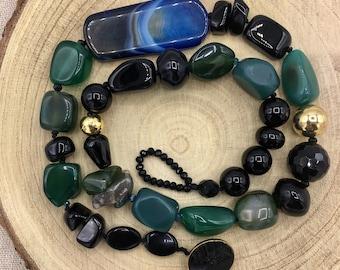 Elegant Agate Necklace, Black and Green Necklace, Black Gemstones Necklace