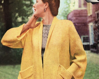Swing Coat Jacket  1950s pdf Vintage Knitting Pattern email delivery
