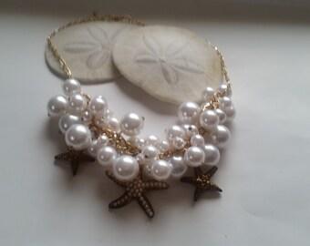 Starfish Bubbles Statement  Bib necklace  OOAK