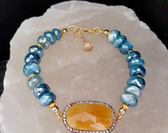 New! Natural Sapphire White Topaz Pave Stack Stretch Bracelet and Earrings Gift Set on Luminous Blue Moonstone Mothers Day Gift for Mom