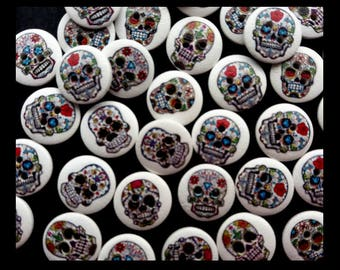 15 Sugar Skull Buttons, round, button mix, wooden buttons, skull buttons, Day of the Dead, Halloween, scrapbooking, cardmaking, UK seller