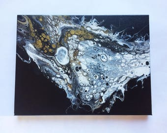 "Pluto | 9""x12"" | Original abstract fluid acrylic painting"