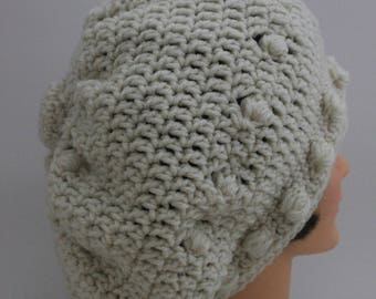 "Hand Knitted ""Cream/Off White"" Beanie,  Slouchy Beanur, Head Accessory,  Boho-chic"