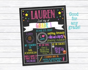 Girl's Last Day of Grade 1 Sign, Last Day of Grade 1 Printable, Last Day of School Sign, School Chalkboard, Digital Download, Personalized