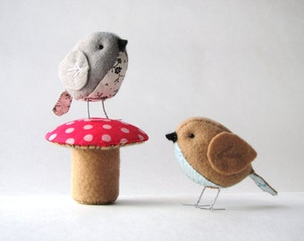 The Fat Sparrow & Terrific Toadstool PDF pattern set of 2 --INSTANT DOWNLOAD--
