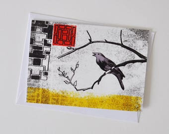 Blank Greeting Card with Nightingale for Birthdays etc and Lovers of Birds and Fairy Tales