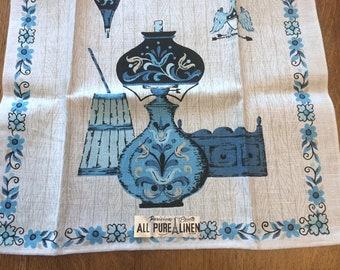 Printed Blue Linen Dish Towel, Blue Cream Tole Design Lamp, Vintage Unused Parisian Prints foil label, 1960's Retro Kitchen Graphics