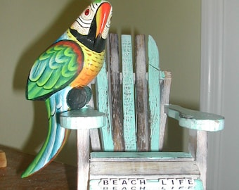 """Patio, Beach House  Table Decor !! Handcrafted  Mini 7"""" Beach Chairs-Perfect for Drinks"""
