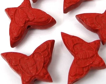 6 Carved Cinnabar Butterfly Beads 15x20mm (e6637)