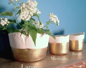 Pre-order: White and gold color block ceramic succulent planter, Large to small planter, apartment decor, plant holder, gold decor