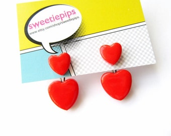 Ear Jackets Heart Front and Back Earrings Valentines Heart Shaped Earring Jacket FREE UK SHIPPING