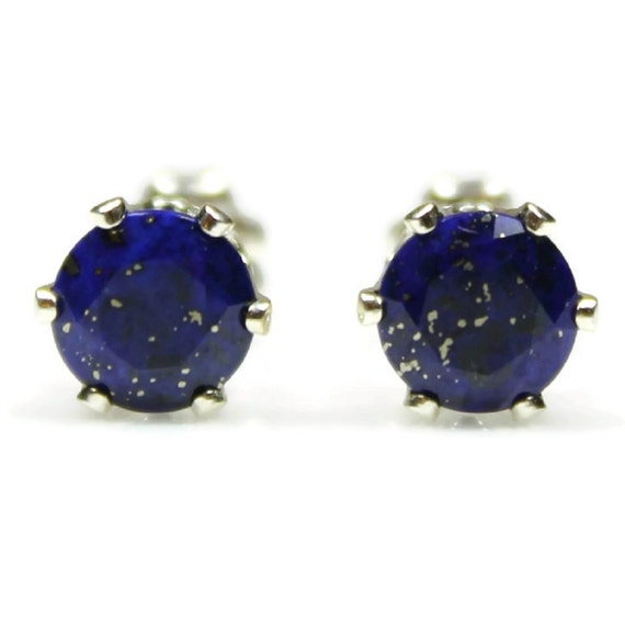 stone gemstone bijou flower lapis memory genuine earrings lazuli dsc trendy round natural sterling stud blue silver