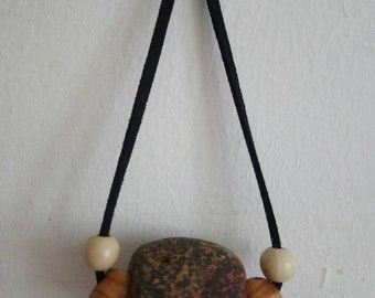 Special Hag Stone on Black Suede Cord. Holey Stone. Pagan. Lucky. Odins Stone. Wicca. Coastal