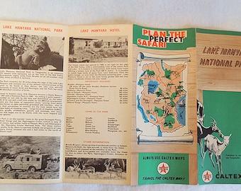 1964 Vintage Caltex Oil Texaco Map Brochure Lake Manyara National Park Kenya Africa Sarfari