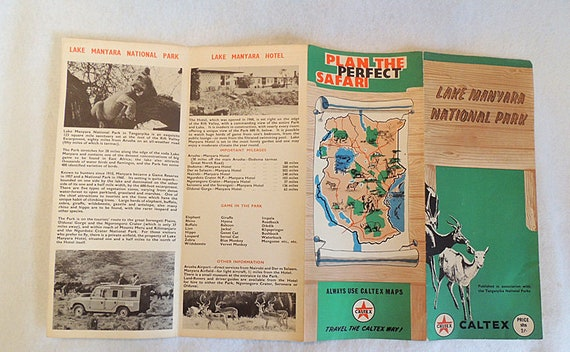 1964 Vintage Caltex Oil Map Brochure Ngorongoro Crater Conservation Area Kenya Africa Sarfari