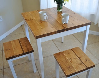 Superb Farmhouse Breakfast Table Or Dining Table Set With Or Without Stools    Farmhouse Table