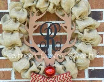 "18"" Burlap Rudolph Wreath With Monogram Christmas Winter"